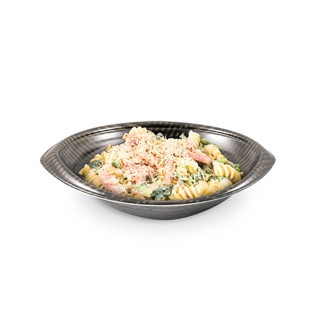 Bacon Fusilli with Spinach